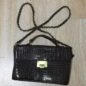 Handbags - Vintage Faux snake skin crossbody chain link purse